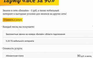 Безлимитный интернет и 800 минут за 155 рублей на Билайн
