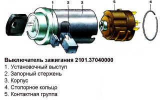 Устройство, схема и описание неисправностей замка зажигания ваз 2101