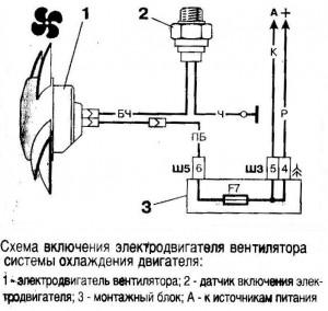 Схема включения вентилятора охлаждения ВАЗ 2110 карбюраторный двигатель