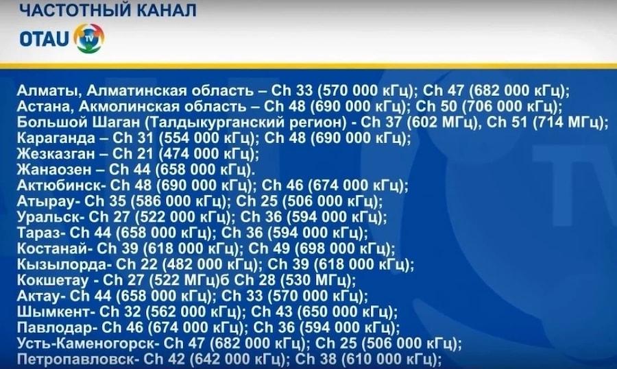 Список частотных диапазонов Отау ТВ