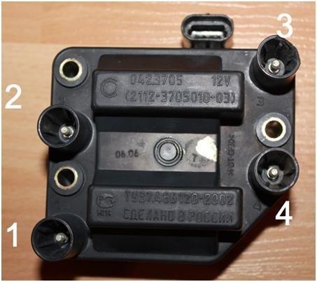 Схема подключения высоковольтных проводов ВАЗ 2114 к модулю зажигания (до 2004 г.в)
