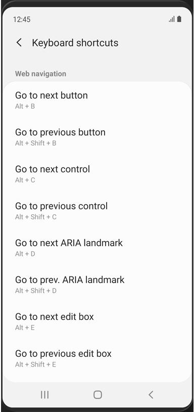 """Отображается раздел веб-навигации меню """"Сочетания клавиш""""."""