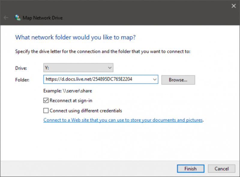 Карта OneDrive, как сетевой диск на Windows 10